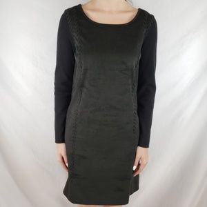 INC International Black Faux Suede Midi Dress LP